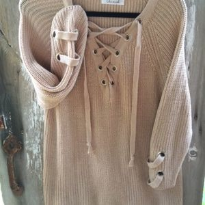 edf64d1e79 Chic Wish Sweaters - Chic Wish Lace-up Beige Mood Sweater s m